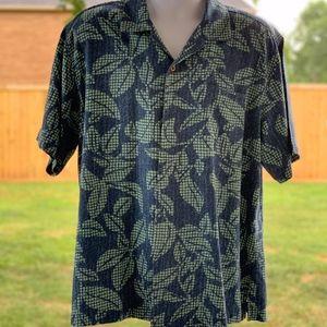 Tommy Bahama Men's Blue & Green Silk Shirt- Large